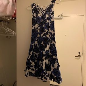 Eyelid blue and black floral Adrianna Papell dress